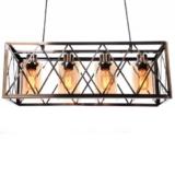 lampadario industriale ottone gabbia di metallo