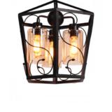 lampadario a lanterna in ferro nero