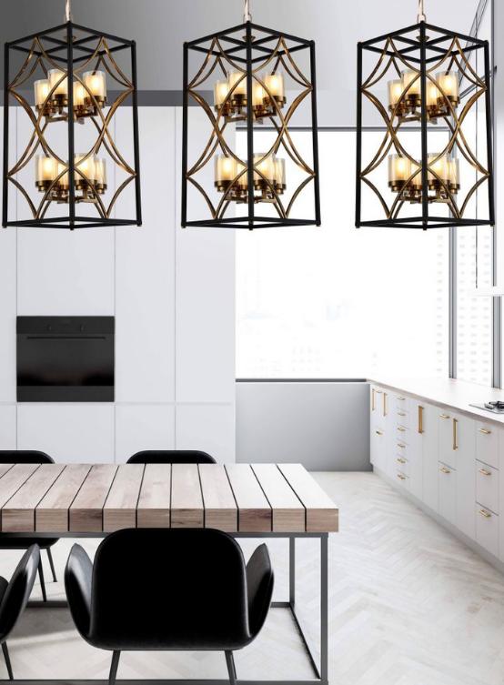 lampadario metallo nero oro stile moderno