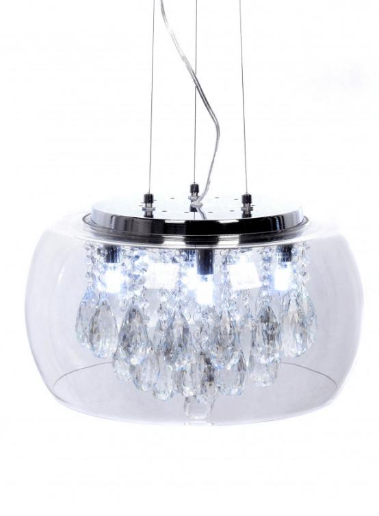 lampadario moderno con cristalli