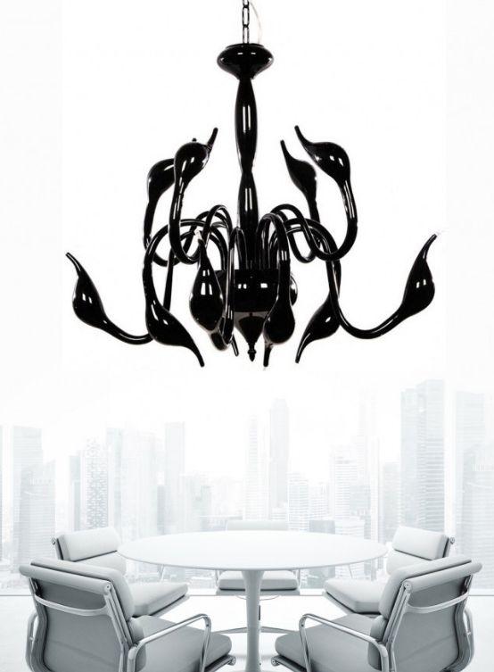 lampadario moderno nero in metallo