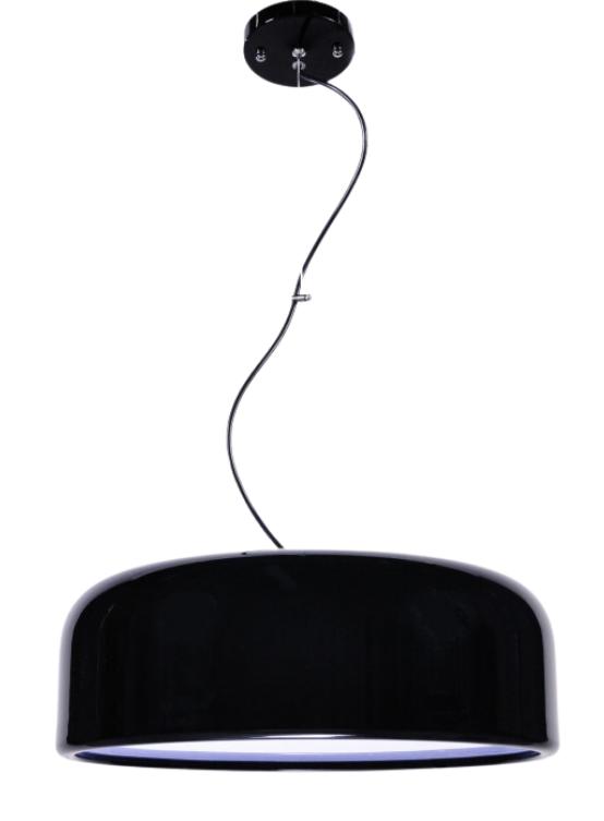 lampada a sospensione nera moderna con grande paralume diametro 50 cm