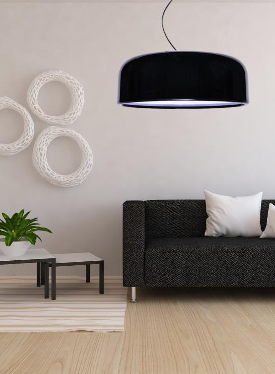 lampadario nero moderno da salotto