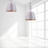lampadario moderno paralume tessuto argento e porta lampada sfere vetro
