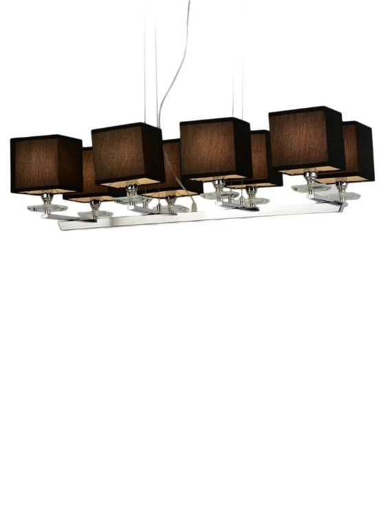 lampadario moderno con paralume di forma quadrata in tessuto