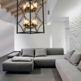 lampadari moderni da salotto neri e ottone