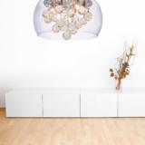 lampadario moderno in vetro con cristalli