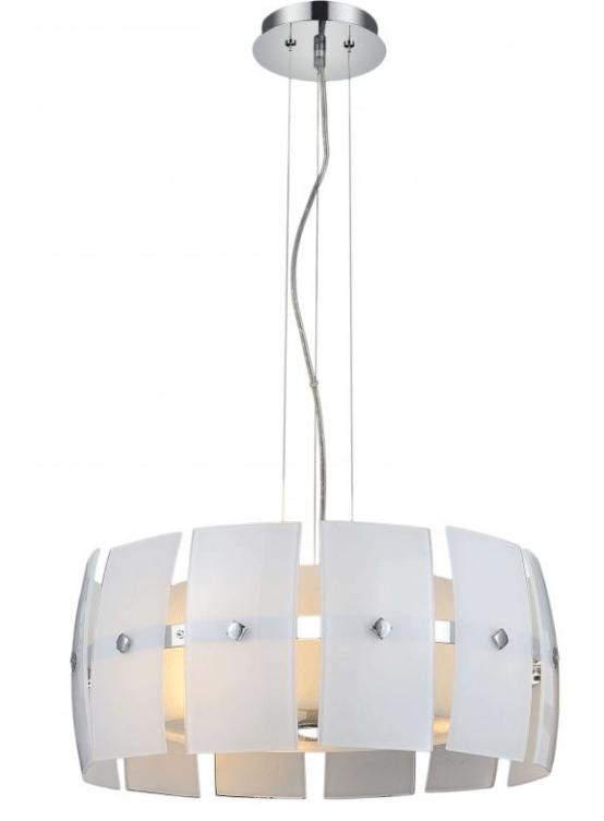 lampadario a sospensione in stile moderno con vetro bianco a spicchi