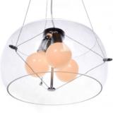 lampadario moderno vetro trasparente con paralume forma sferica in vetro
