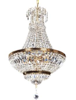 lampadario a mongolfiera antico con cristalli