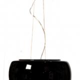 lampadario nero moderno con paralume in vetro e cristalli