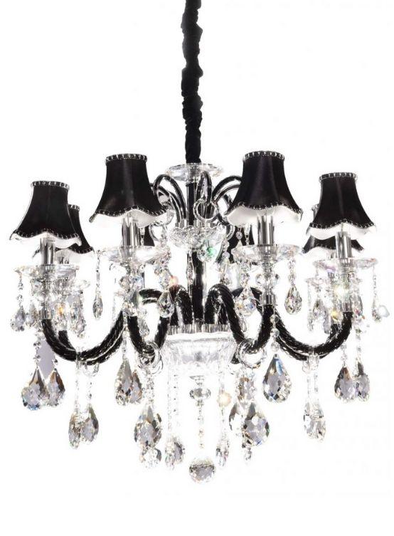 lampadario nero cristallo stile classico con 8 luci e paralume nero