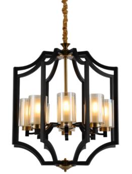 lampadario a sospensione nero in stile moderno 8 luci