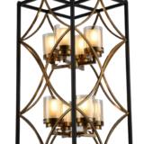 lampadario nero e ottone geometrica