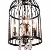 lampadario nero stile shabby gabbia uccellini in metallo