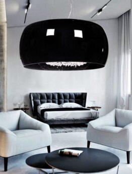 lampadario nero vetro e cristalli