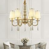 lampadario oro per salotto 6 luci con cristalli