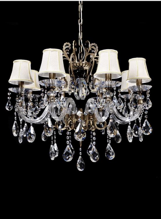 lampadario ottone e cristallo 8 luci