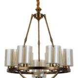 lampadario color ottone con paralumi vetro