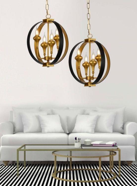 lampadario oro e nero 4 luci salotto