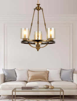 lampadario ottone salotto con paralumi vetro
