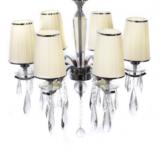 lampadario con paralume plissettato decorato con cristalli