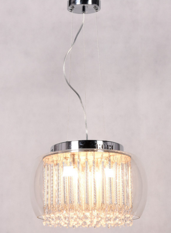 lampadario da soffitto con paralume in vetro e cristalli a cascata