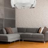lampadario con paralume in vetro cromato in stile moderno forma sferica