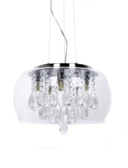 lampadario con paralume rotondo in vetro trasparente e gocce di cristallo