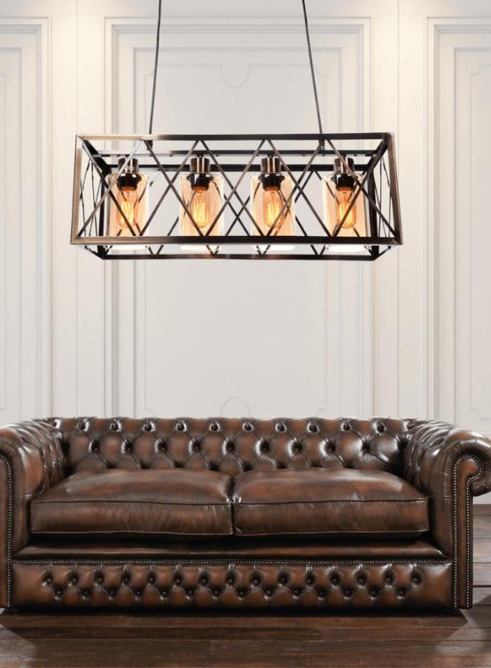 lampadario rustico ottone vintage industriale