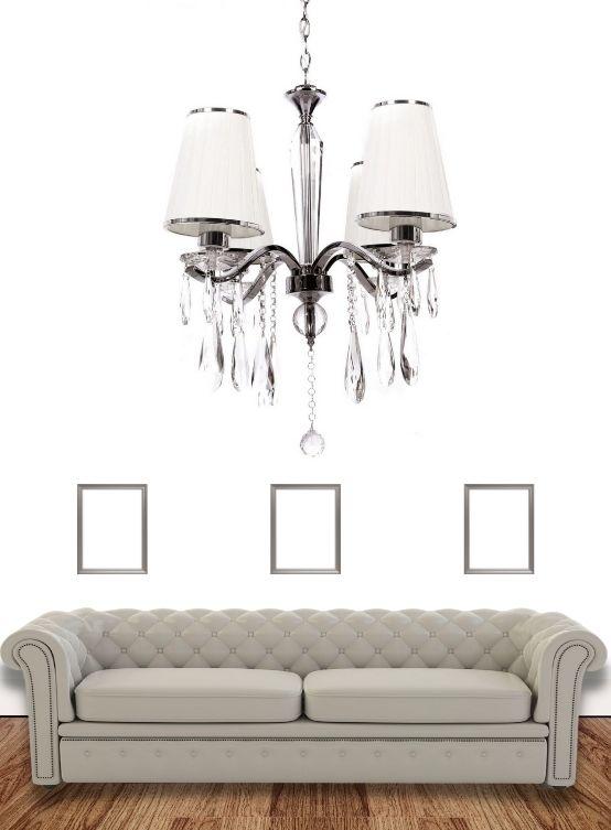lampadario salotto 4 luci colore bianco stile classico moderno