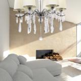 lampadario salotto 6 luci decorato con cristalli struttura argento cromo stile classico moderno