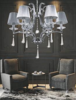 lampadari salotto cristalli pendenti con paralumi in tessuto color argento