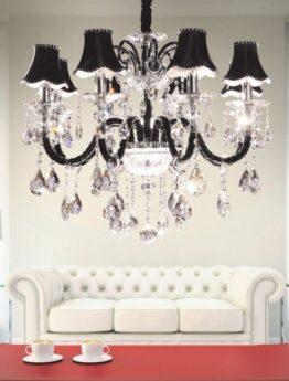 lampadario salotto vetro nero e cristallo