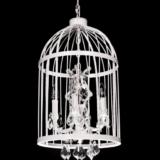 lampadario shabby gabbia uccelli con cristalli colore bianco