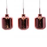 lampadario sospensione 3 luci oro rosa con paralumi a forma di barattolo