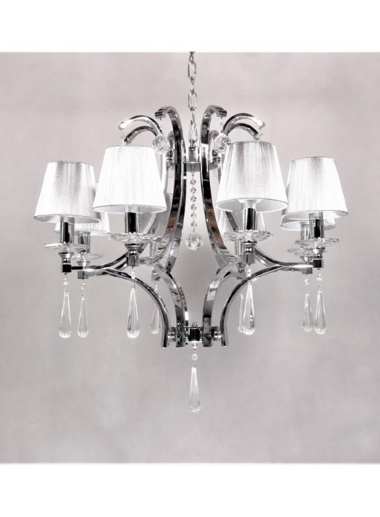lampadario a sospensione classico color argento con 8 luci
