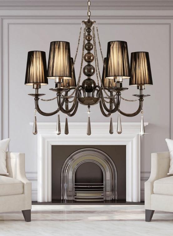lampadario a sospensione classico colore nero con 6 luci e decorazioni in cristallo
