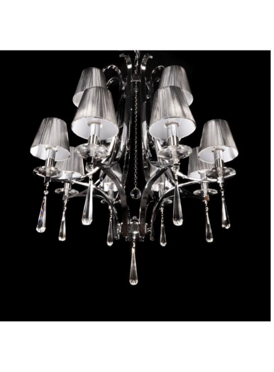 lampadario a sospensione con cristalli in stile classico paralumi argento