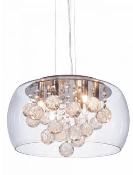 lampadario a sospensione con cristalli e paralume in vetro trasparente