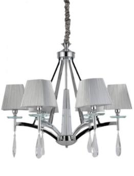 lampadario a sospensione con cristalli pendenti color argento