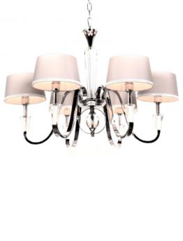 lampadario sospensione cristallo soggiorno con paralume crema
