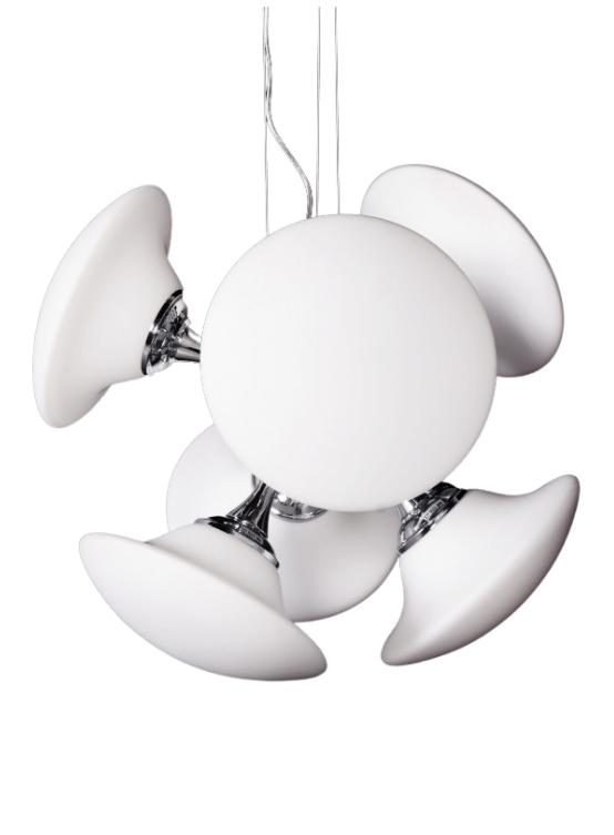 lampadario sospensione design vetro bianco