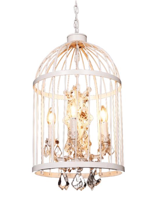 lampadario sospensione gabbia uccelli colore bianco
