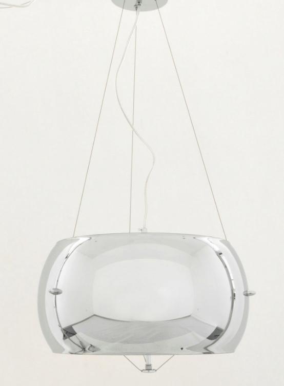 lampadario a sospensione grigio croma con paralume 50 cm