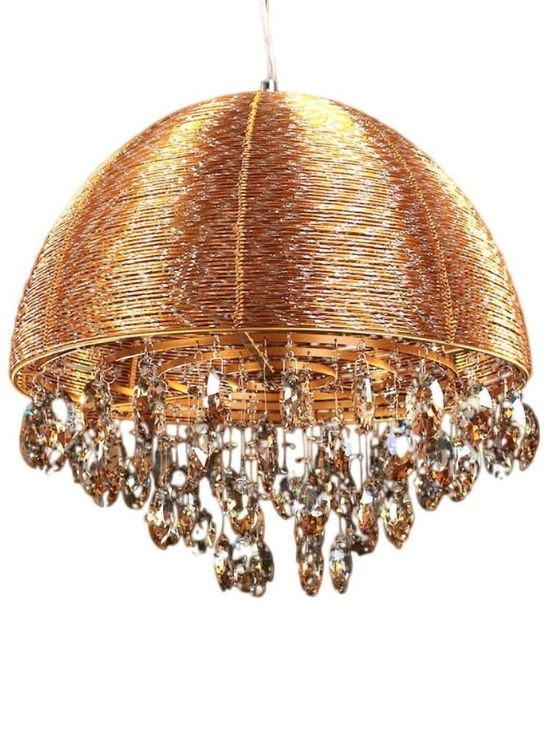 lampadario a sospensione oro con cristalli