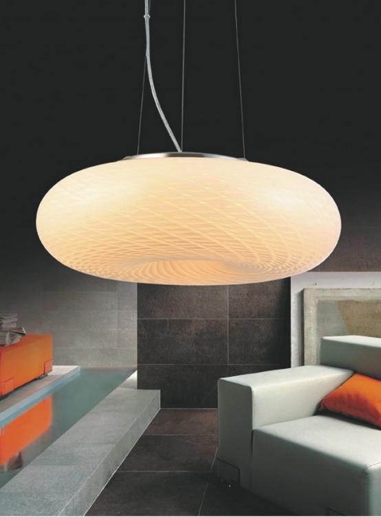 lampadario sospensione vetro satinato soggiorno