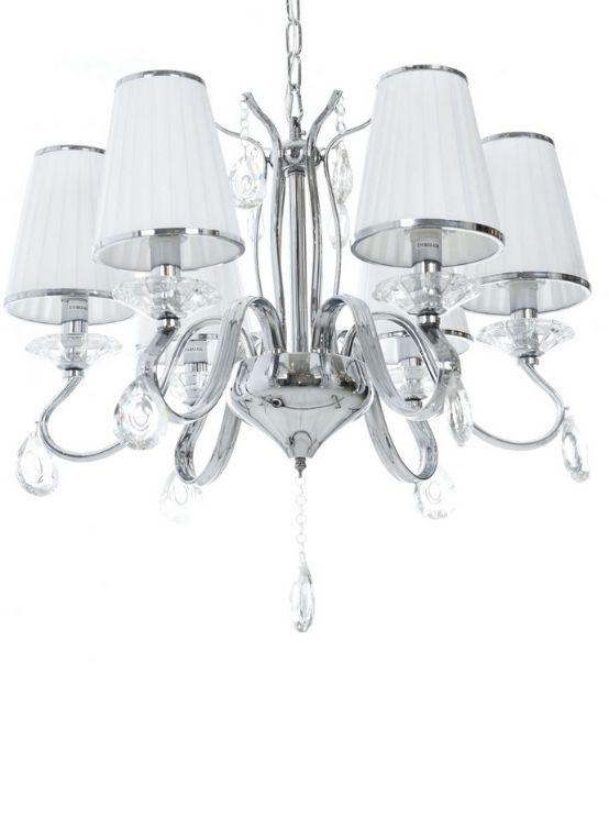 lampadario stile classico bianco con paralumi in tessuto plissettato