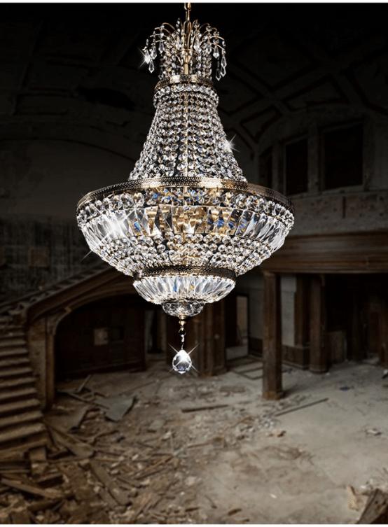 lampadario stile impero a mongolfiera con cristalli