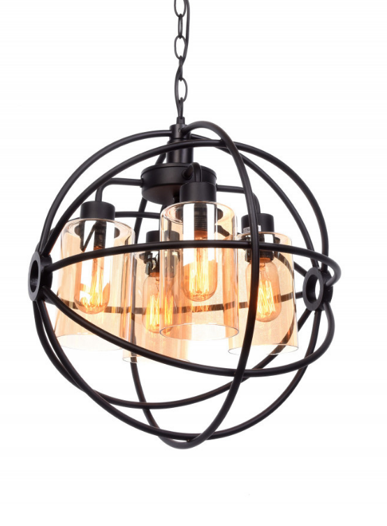lampadario a sospensione metallo nero stile industrial
